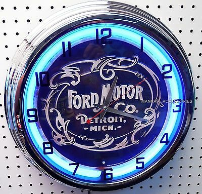 """17"""" Historic FORD Motor Co Logo Blue Oval Sign Neon Clock"""