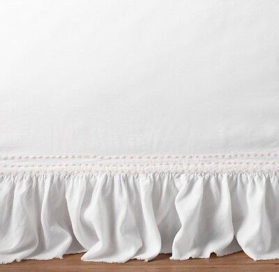 Restoration Hardware Baby Ruffled Voile Crib Skirt White Pink Girl W/flaws