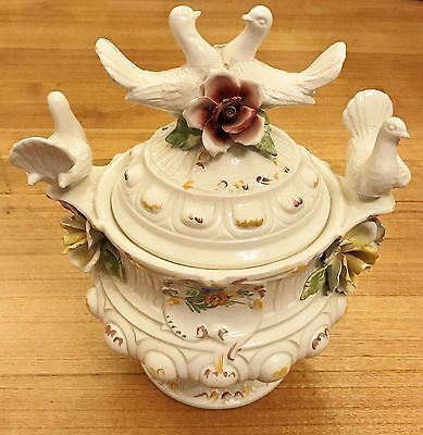 Collectors Very Large Ceramic White Serving Pot with Doves Roses Bowl with Lid