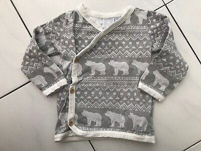 Baby World Grey Winter Bear Long Sleeve Top Size 0 Baby Boy