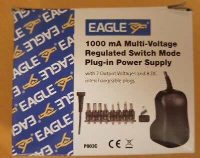 Multi-Voltage 1000Ma Regulated Switch Mode Power Supply + French Plug
