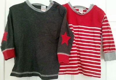 2x 0 EUC Next tops grey red star stripes 100%cotton tops twins