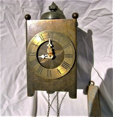 Unusual Antique Brass lantern clock, Wall mounted single weight driven