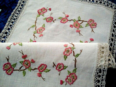 Gorgeous Briar Rose Blossom Branches  ~ Vintage Hand embroidered Centrepiece