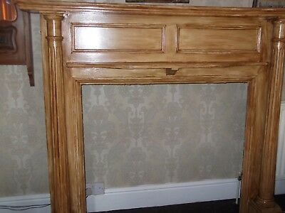 antique vintage large wooden fire surround
