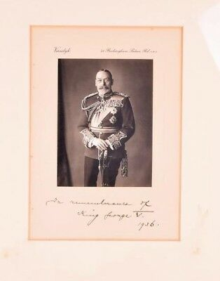 His Majesty King George V Hand Signed Vandyk Photo By Her Majesty Queen Mary