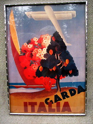 Art Deco or Vintage Staybrite Steel Picture Frame with poster print Garda Italia