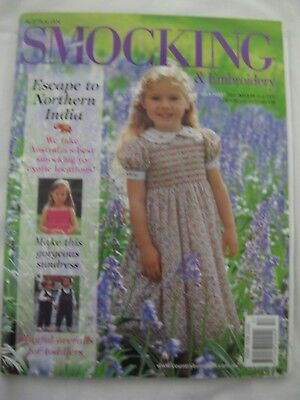 Australian Smocking & Embroidery #57 2001 Pattern sundress overalls india floral