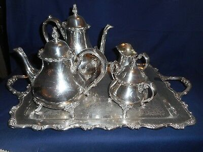 Wilcox Silver American Rose Tea & Coffee Set With Tray