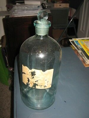 Large, Vintage, clear glass Apothecary jar with glass stopper