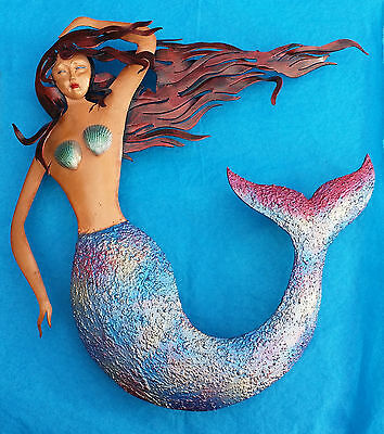 "La Sirena Mexican Wall Art Iron Painted Mermaid 15"" x 13"" Painted"