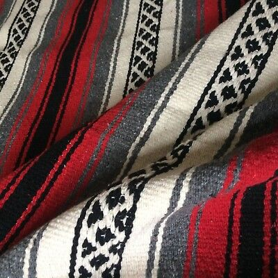 Vtg MEXICAN cotton? blanket rug woven  FALSA red grey ivory tied fringe