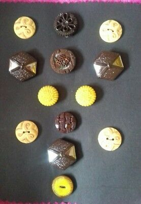 Antique Vintage Buttons Collectable 13 lot browns   yellow 1930's 1940's