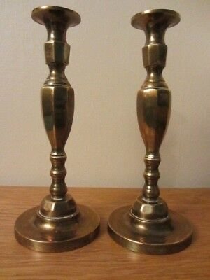 Pair of Vintage Solid Brass Candlesticks, Heavy Good Condition.