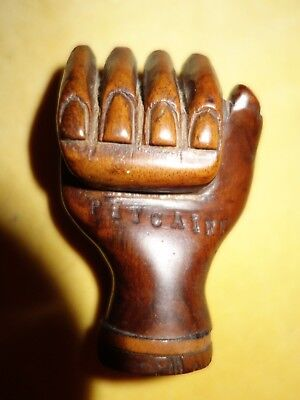 Pitcairn Island rare wooden antique carved fist walking stick top Bounty Mutiny