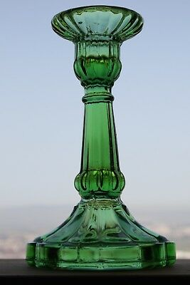 """Beautiful Antique 19th Century Victorian Pressed Green Glass Candlestick Rare 7"""""""