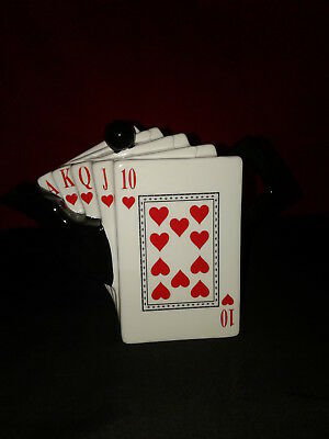 Vintage Style Red Royal Flush Card Hearts Teapot