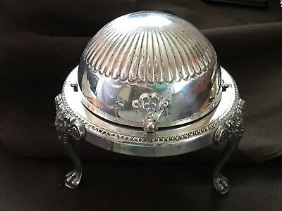 F.B.Rogers Silver Plate Roll Top Butter Keeper w/Glass Insert - Use for Trinkets