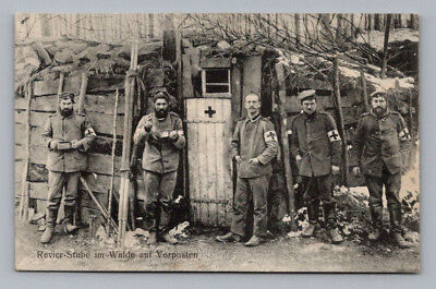 Antique WW1 GERMAN Real Photo RPPC Postcard BATTLEFIELD SOLDIERS at OUTPOST