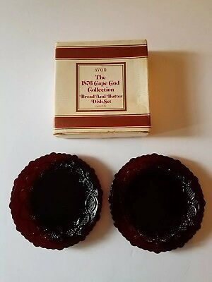"2 Avon Ruby Red Glass Cape Cod 5 3/4"" Bread Butter Plates with Box"