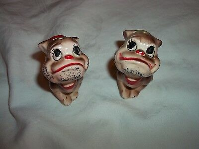 Vintage Rare Anthropomorphic Pug/ Bull Dogs Art Mark Japan Salt & Pepper Shakers