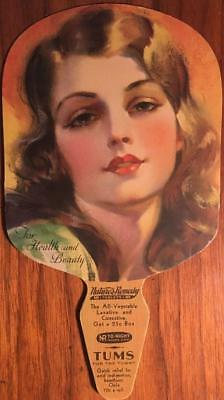 1930's ROLF ARMSTRONG PIN-UP STYLE ART DECO WOMAN TUM'S ADVERTISING FAN