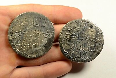 LOT OF 2 - ANCIENT SILVER ISLAMIC OTTOMAN COIN HUGE SIZE - 41 & 44mm - 1