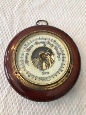 1920'S Antique German Barometer w/ Porcelain Face and Exposed Movement
