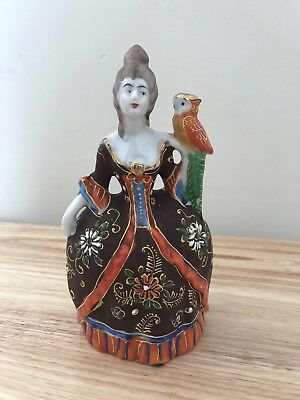 Vintage Figural Victorian Lady W/ Parrot Wall Pocket-Rare-
