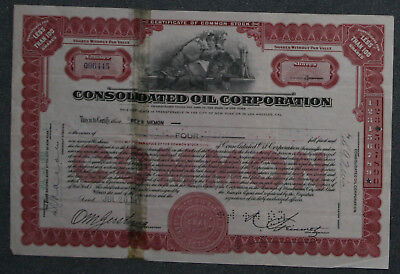Consolidated Oil Corporation 1933  4 Shares .