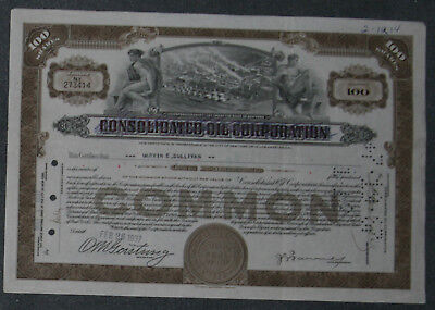Consolidated Oil Corporation 1937 100 Shares .