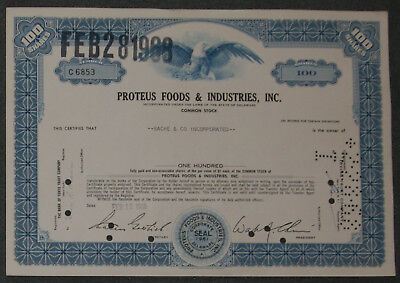 Proteus Foods & Industries, Inc. 1968 100 Shares .