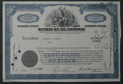 Sunray DX Oil Company 1967 10 Shares .
