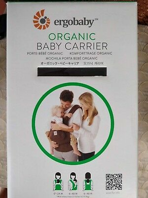 Ergobaby Organic Baby Carrier, Chocolate, excellent condition box & user manual