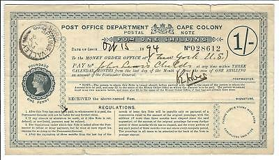 South Africa - CAPE COLONY 1 shilling Postal Note (Postal Order) issued 1894
