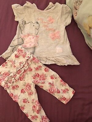 Baby Girls Winnie The Pooh 0-3 Months Disney George Grey Pink Rose Outfit