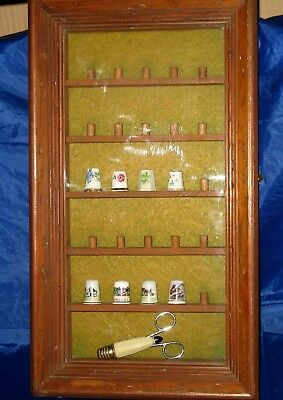 Vintage Wooden Display Case For Thimbles With 8 Thimbles Included + More