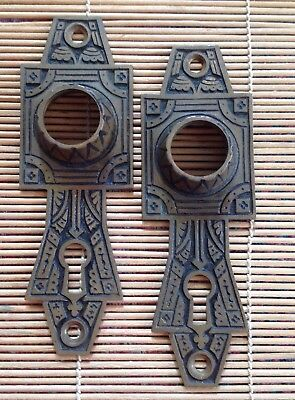 Pair of Old Ornate Doorknob Backplates