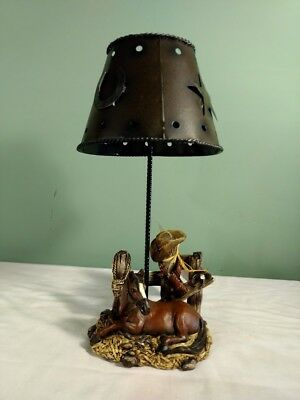 Southwest Cowboy Western Lamp Shade Candle Holder Country Horse Rodeo Decor