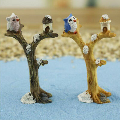 MagiDeal Fairy Gardens Mini Figure Owl Perching on Branch Miniature Figurine
