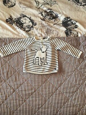 Joules Stripe Jumper With Dog Print Age 6-9 Months