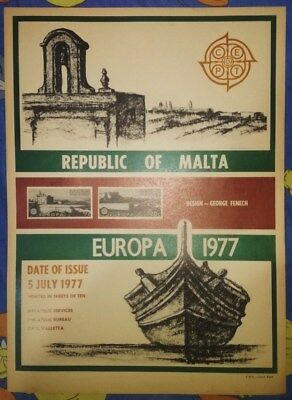 Malta Stamps GPO post office Poster 1977 CEPT Europa 77 desiged by George Fenech