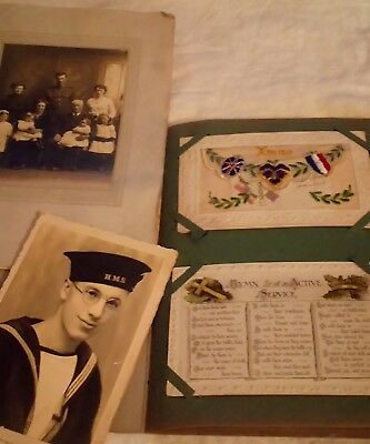 Old Album Containing 40 Military Related Postcards Ww1 & Ww2 Plus 2 Loose Photos