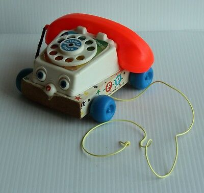 Fisher Price #747 1961Chatter Telephone Phone Rotary Toddler Pull Toy