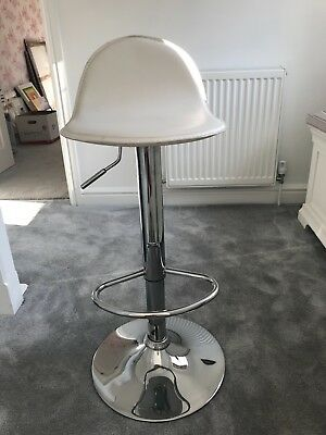 Pair of white kitchen bar stools with chrome finish