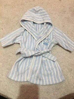 Baby Boys Mothercare Striped Towel Dressing Gown With Hood 0-6m