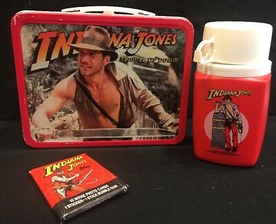 VTG 1984 Indiana Jones and the Temple of Doom Metal Lunchbox with Thermos EUC