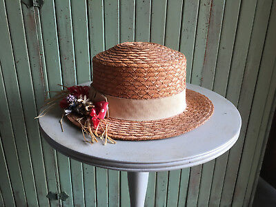 Vintage primitive Child's Straw Hat With Flowers & Polka Dot Ribbon