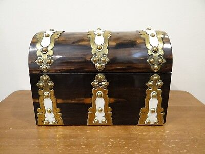 Victorian Coromandel Brass Bone Domed Top Stationary Table Casket Box C.1860
