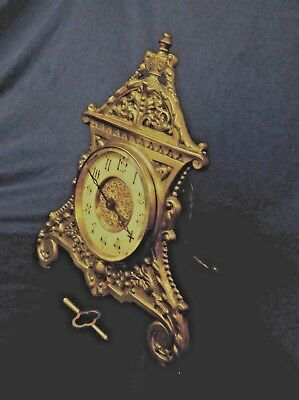 Original Victorian Brass Strut Clock With French Movement In Vgc +